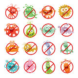 Stop Bacteria Cartoon Vector Illustration No Virus Royalty Free Stock Photography
