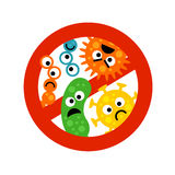 Stop bacterium sign with cute cartoon gems in flat style Stock Photography