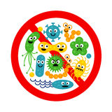 Stop bacterium sign with many cute cartoon gems. In flat style on white background. Alert circle symbol for antibacterial products. Art vector illustration royalty free illustration