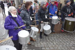 Drummers at Protest March Royalty Free Stock Photo