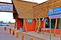 A stop at the Bagdad Cafe, on 66 historic road. A stop at the Bagdad Cafe, on the Historic and scenic 66 road. Here is the trailer and two motobikes Royalty Free Stock Photos