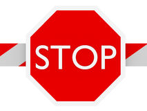 Stop barrier. Stop sign in a barrier in white and red Stock Photo