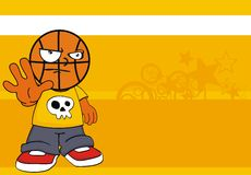 Stop Basketball kid head cartoon background Royalty Free Stock Images