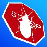Stop BedBugs sign. Stop Bed bugs isolated on a blue background Royalty Free Stock Photo