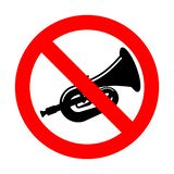Stop beep Trumpet isolated. Ban hooter. Red prohibition road sign.  royalty free illustration