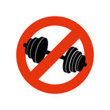 Stop bodybuilding. Ban sport. Prohibiting sign for fitness. Red strikethrough vector illustration
