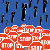 Stop The Bombing. Concept with bombs falling out of the sky above road traffic stop signs Royalty Free Stock Photos