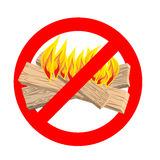 Stop bonfire. It is forbidden to make fire. Emblem against flame. S. Red prohibition sign. Ban light Royalty Free Stock Images