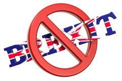 Stop Brexit concept, 3D royalty free illustration