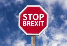 Stop brexit sign. Over blue sky background stock photography