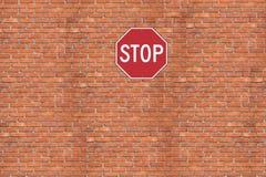 Stop. Brick wall Royalty Free Stock Photography