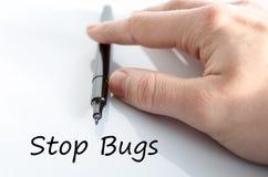 Stop bugs text concept Stock Photos