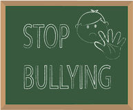 Stop bullying. Message on chalkboard Royalty Free Stock Images