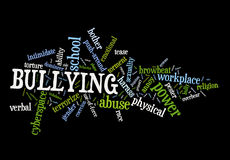 Bullying. A cloud of words on elements and types of bullying in black background Royalty Free Stock Photos
