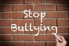 Stop Bullying. Hand writing stop bullying on wall royalty free stock images