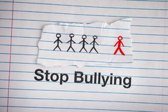 Stop Bullying. Phrase Stop Bullying on notebook sheet royalty free stock image