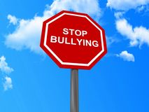 Stop bullying sign. Red stop bulling sign with blue sky and cloudscape background Stock Photography