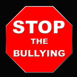 Stop bullying sign. Stop sign bullying poster red and black illustration Royalty Free Stock Photo