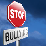 Stop bullying sign. Stop bullying prevention for no bullies at school work or in the cyber internet Royalty Free Stock Image