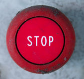 Stop Button. Red emergency button used to halt voltage supply Royalty Free Stock Images
