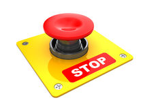 Stop button. 3d illustration of big red button with 'stop' caption Royalty Free Stock Images