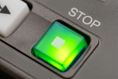 Stop button. A stop button at a professionell broadcast vcr Royalty Free Stock Images