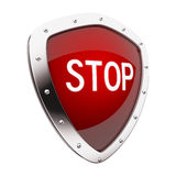 Stop Button. Glossy 3D stop button in brushed metal frame Royalty Free Stock Photo
