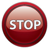 Stop button. Red round stop button for software interfaces and such Stock Image