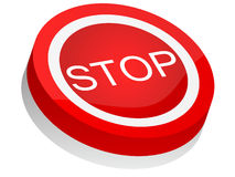 Stop button. 3d stop button isolated on white background Stock Photos