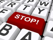 Stop button on computer keyboard. 3d illustration of red stop button on computer keyboard Royalty Free Stock Image