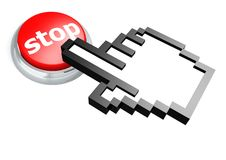 Stop button with hand cursor Royalty Free Stock Photography