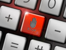 Stop button. On the keyboard, computer security concept Royalty Free Stock Images
