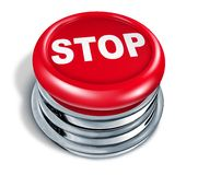 Stop button red. Red stop button isolated on white stock illustration