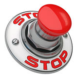 Stop Button. Button rugged metal screwed on white background Royalty Free Stock Image