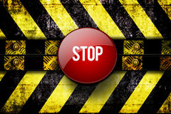 Stop button. At warning area background Royalty Free Stock Images