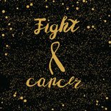Stop cancer lettering. Fight cancer lettering. Golden quotes on dark background Royalty Free Stock Photo