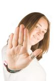 Stop!! - casual woman with hand up Royalty Free Stock Photography