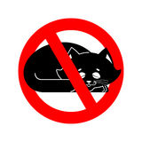 Stop cat. ban pet is forbidden. Red prohibitory road sign Royalty Free Stock Photography