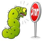 Stop caterpillars. Stop pest illustration with a funny cartoon caterpillar. Cartoon pest series vector illustration
