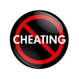 Stop Cheating. A black and red button with word Cheating and no symbol isolated on white, Stop Cheating stock photography