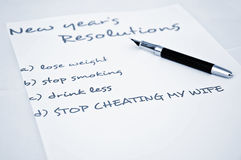 Stop cheating my wife. New year resolution stop cheating my wife Stock Photos