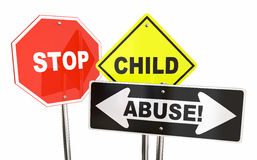 Stop Child Abuse Violence Kids Signs Stock Photo