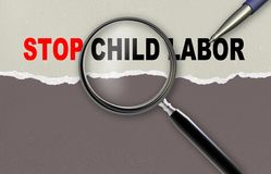 Stop child labor. Word stop child labor and magnifying glass with pensil made in 2d software Royalty Free Stock Images