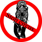 Stop circus. Say NO! to animals in circuses. tiger Stock Photo