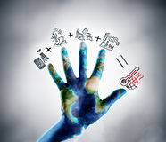 STOP Climate Change - Earth Day Theme. Drawn Icons Illustrating Global Warming Concept stock image