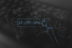 Stop climate change OFF button with hand about to push over world map overaly. Stop climate change conceptual illustration: OFF button with hand about to push vector illustration