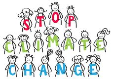STOP CLIMATE CHANGE stick people in a row holding colorful letters against climate change horizontal banner stock illustration