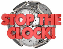 Stop the Clock Break Time Out Pause Words Royalty Free Stock Photography