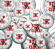 Stop the Clock Words Free Time Out Pause Break Royalty Free Stock Image