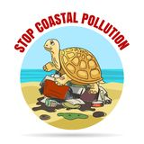 Stop Coastal Pollution Ecology Emblem. Stop coastal pollution emblem in cartoon style. Sad turtle on a pile of garbage. Vector illustration vector illustration